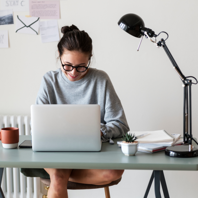 woman working from home time management tips